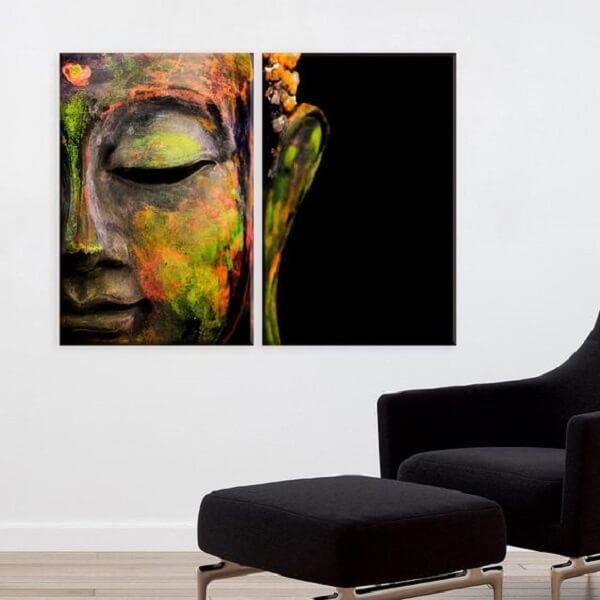 Mosaico de quadros com a imagem de Buda. Fonte: Wevans