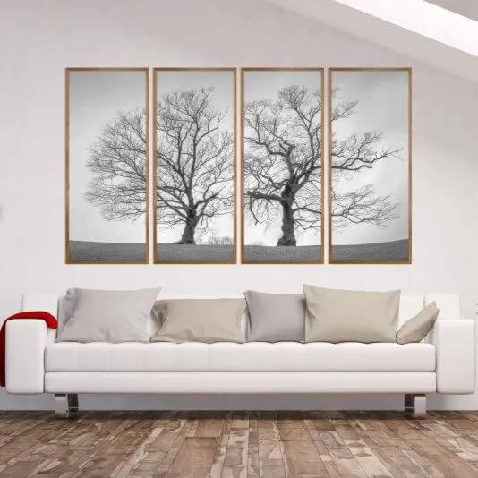 O quadro mosaico grande formam a imagem de uma paisagem. Fonte: Decore Pronto