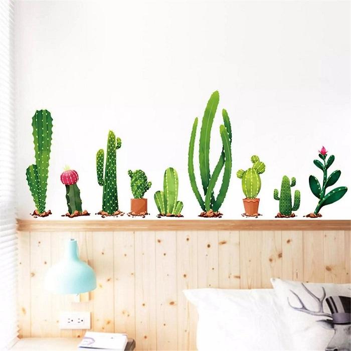 Os adesivos de cactos fazem muito sucesso na decoração. Fonte: Pinterest