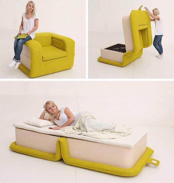 Poltrona cama amarela e branca