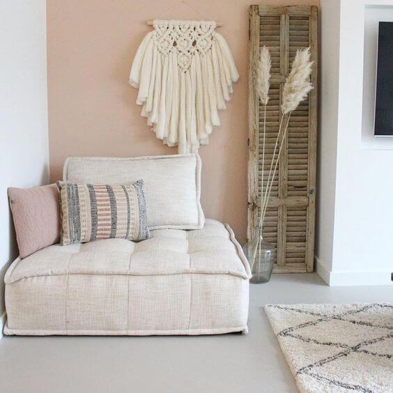 Poltrona cama bege de futon