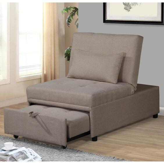 Poltrona cama bege para ambientes compactos