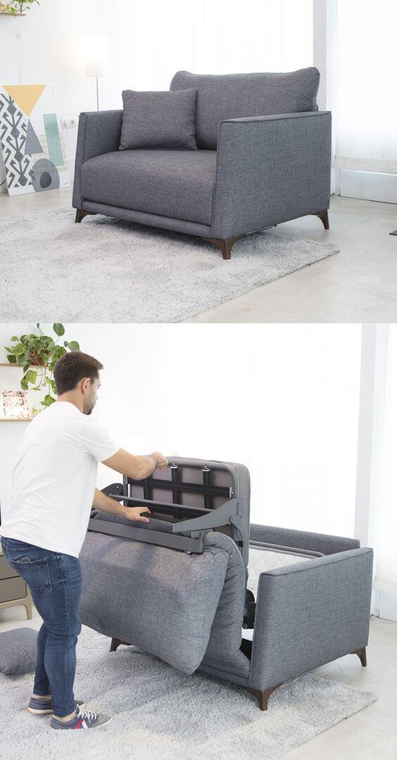 Poltrona cama cinza para sala de estar