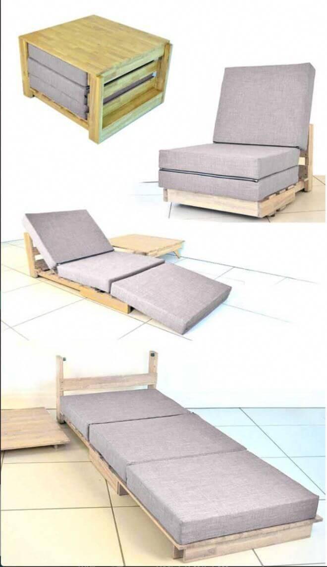 Poltrona cama cinza para sala moderna