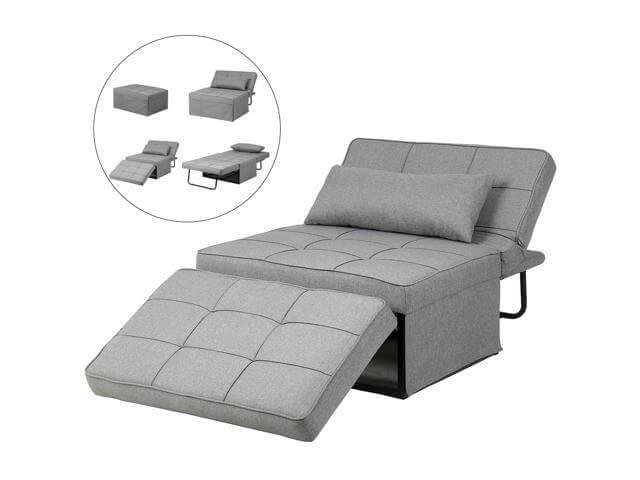 Poltrona cama cinza para sala pequena