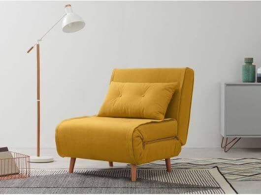 Poltrona cama mostarda para sala moderna