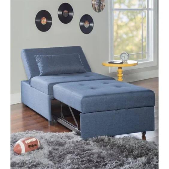 Poltrona cama para sala azul
