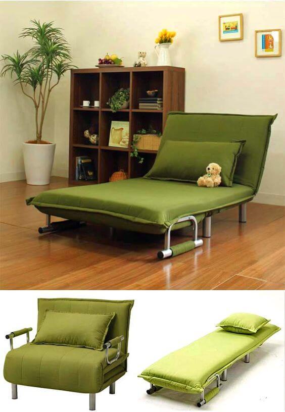 Poltrona cama verde para casa funcional