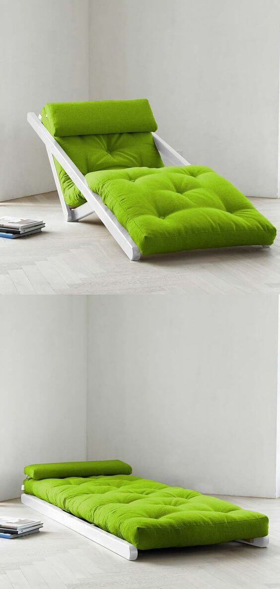 Poltrona cama verde para sala moderna