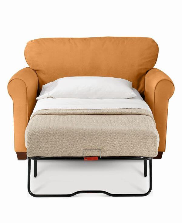 Poltrona que vira cama na cor laranja