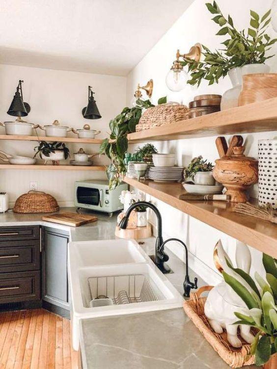 Prateleira rustica de madeira para cozinha moderna