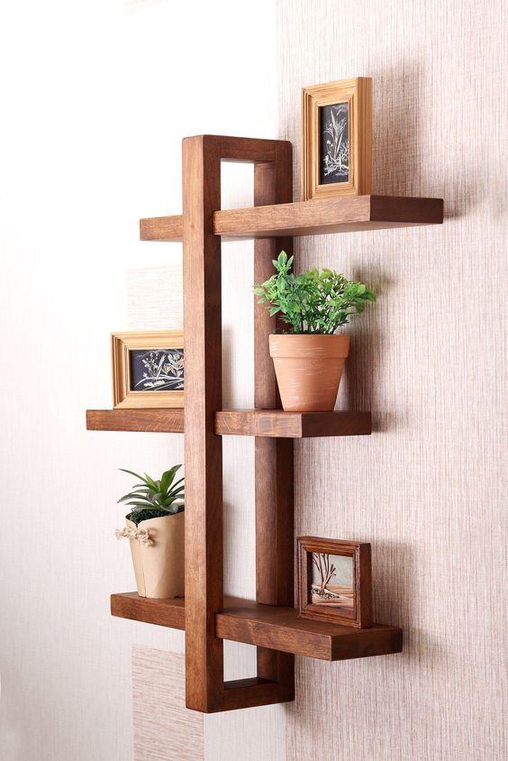 Prateleira rustica decorativa de madeira