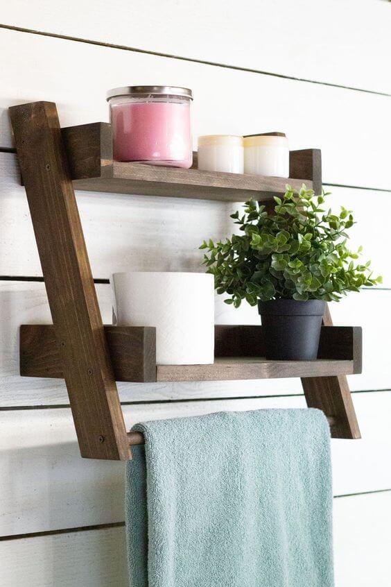 Prateleira rustica para banheiro