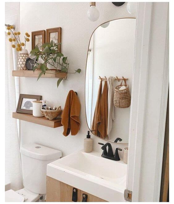 Prateleira rustica para banheiro bem decorado