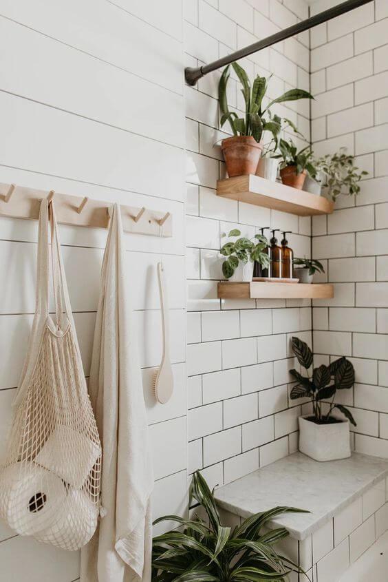 Prateleira rustica para banheiro moderno