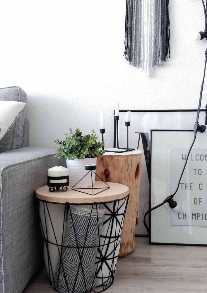 Puff bau aramado para sala de estar