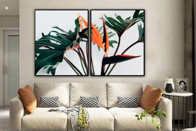 Quadro de mosaico com imagem de plantas decora a sala. Fonte: Pinterest
