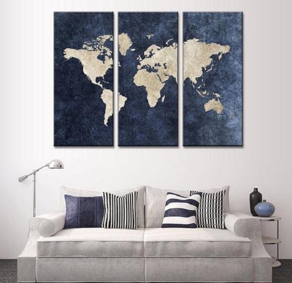 Quadro de mosaico para aqueles que amam viajar. Fonte: Pinterest