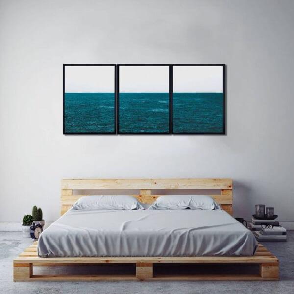 Quadros mosaico para quarto com imagens do oceano. Fonte: Pinterest