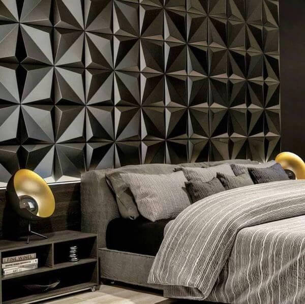 Quarto com azulejo 3D preto