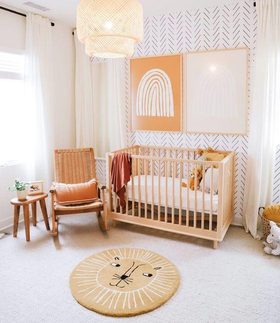 Quarto de bebe retrô minimalista