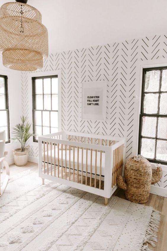 Quarto de bebe retro minimalista