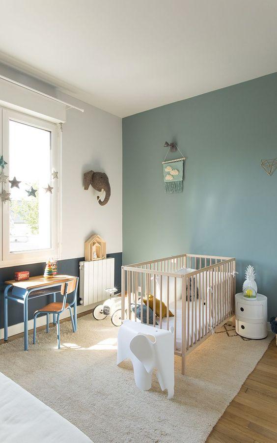Quarto de bebe retro verde e azul