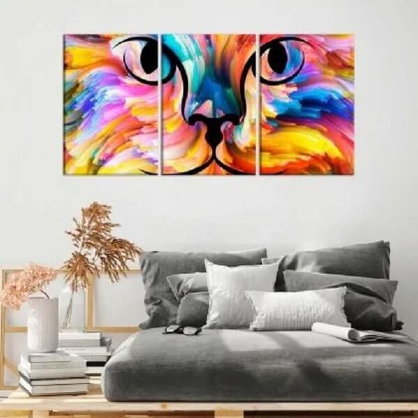 Que tal incluir quadros mosaico para quarto com desenho de gato? Fonte: Wevans