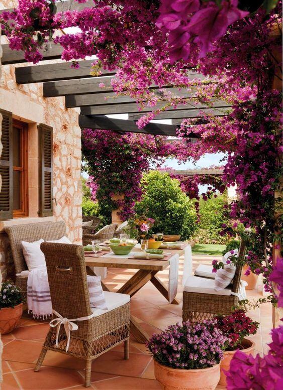 Quintal pequeno com flores e jardim