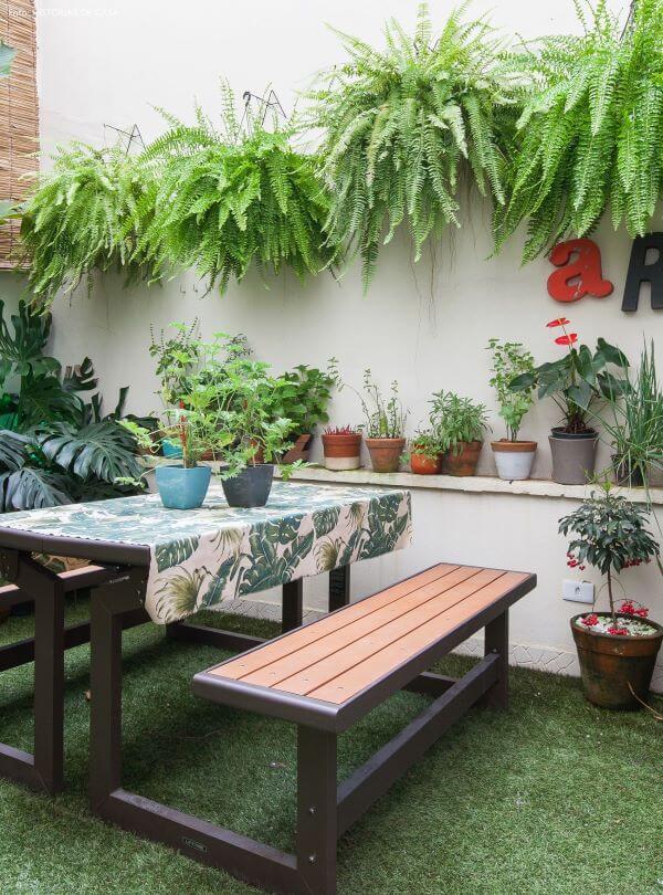 Quintal pequeno com plantas