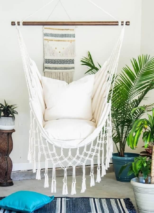 Reserve um espaço em casa e coloque uma confortável rede cadeira de balanço