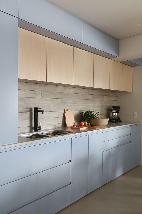 Revestimento 3D para cozinha azul