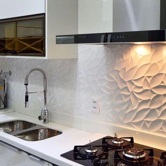 Revestimento 3D para cozinha branca
