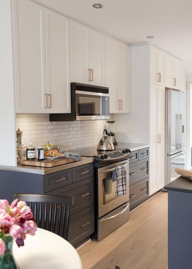 Revestimento 3D para cozinha branca e azul