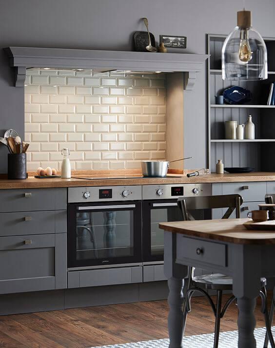 Revestimento 3D para cozinha de tijolinho branco