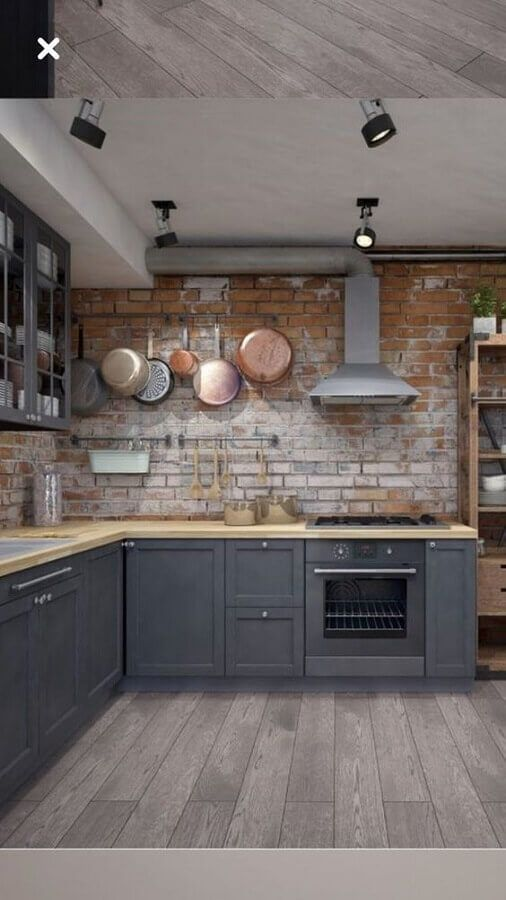 Revestimento 3D para cozinha de tijolinho rustico