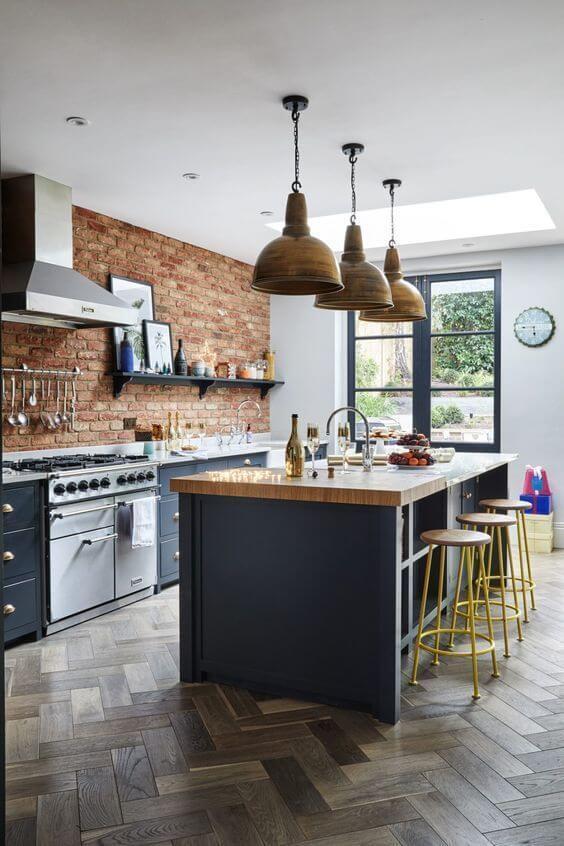 Revestimento 3D para cozinha de tijolinho rustico com armário