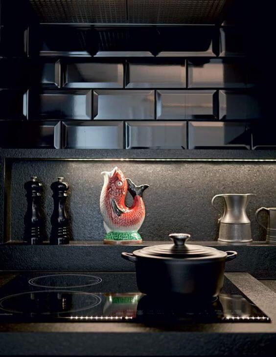 Revestimento 3D para cozinha preta