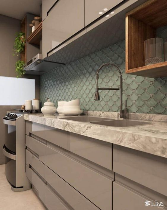 Revestimento 3D para cozinha verde água