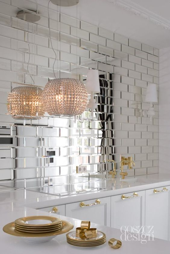 Revestimento espelhado 3d para cozinha branca