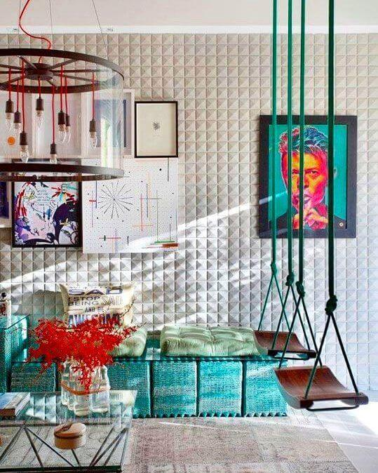 Sala colorida com azulejo 3D branco
