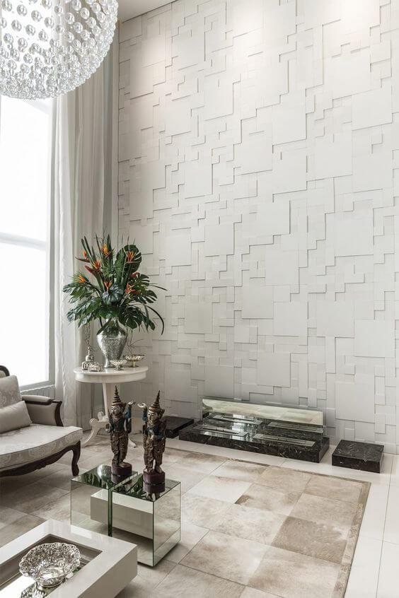 Sala com azulejo 3D branco