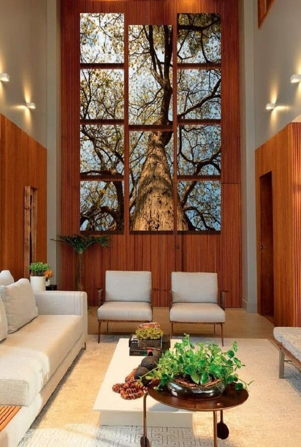 Sala de estar decorada com quadro mosaico paisagem. Fonte: Art Shop Quadros