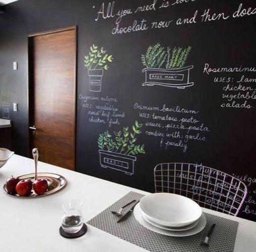 Sala de jantar com tinta lousa preta e mesa branca