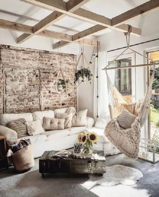 Se inspire nessa decoração com cadeira rede de teto