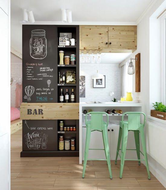 Tinta lousa preta na cozinha pequena