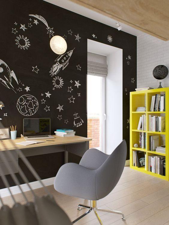 Tinta lousa preta para escritório e sala de estudos