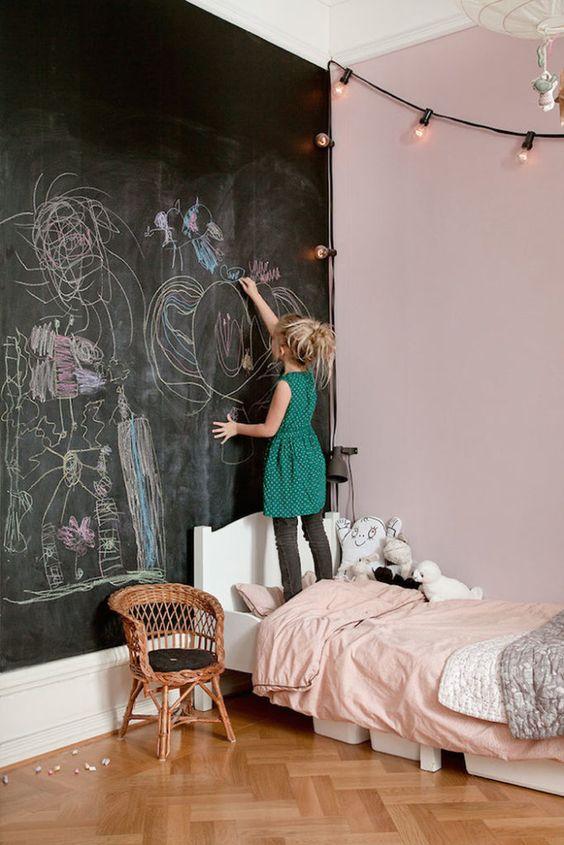 Tinta lousa preta para quarto infantil