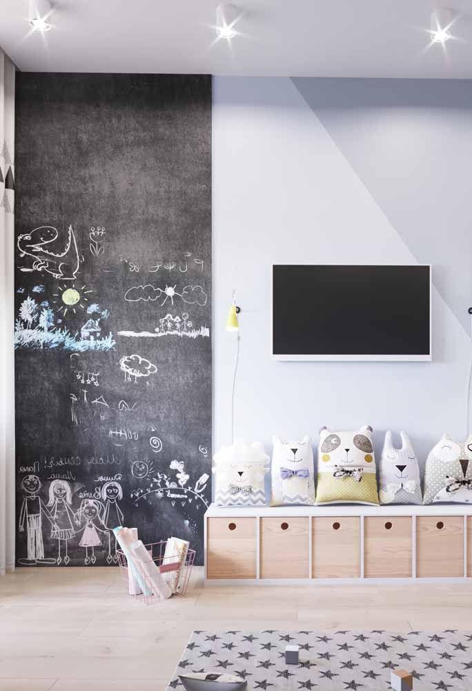Tinta lousa preta para quarto infantil montessoriano