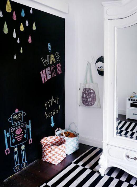 Tinta lousa preta para quarto infantil preto e branco